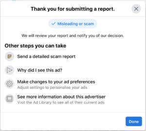 Facebook's response to an advert report