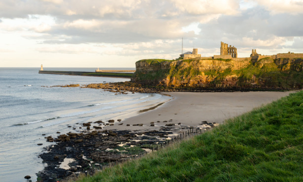 Priory overlooking Tynemouth beach