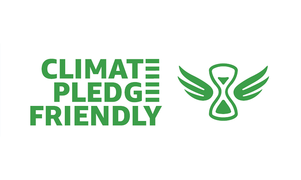 This is the Amazon Climate Pledge Friendly logo in green