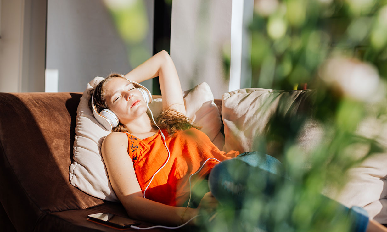 Woman resting at home