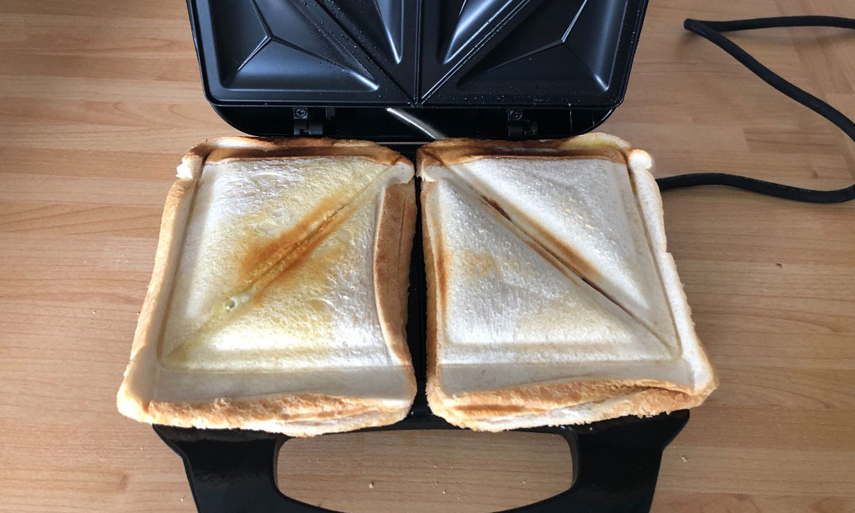 cheese toasties cooked in a toastie maker