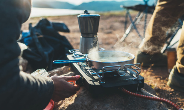 Someone using a camping stove