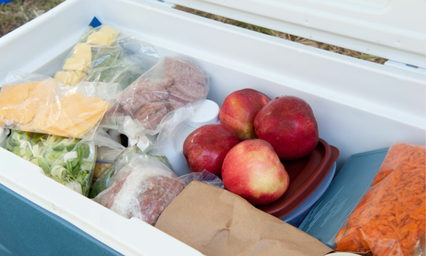 Cooler box with food and drink inside it.