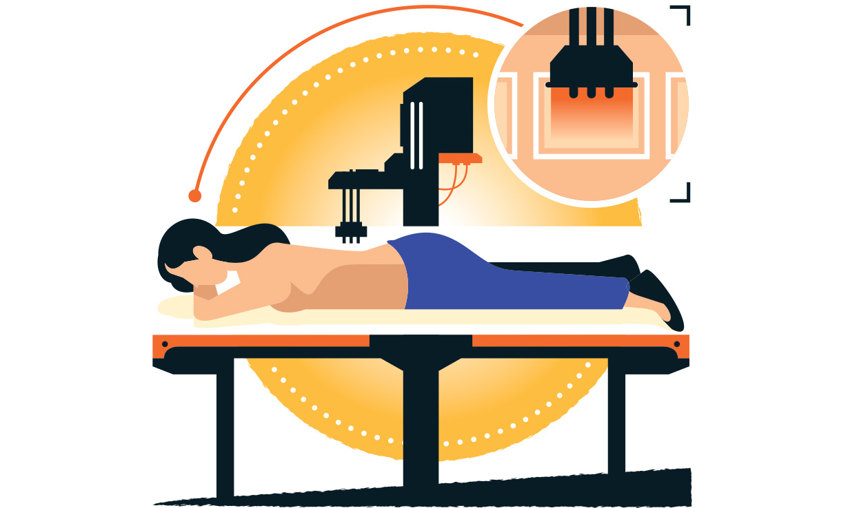 Illustration of a woman volunteering in our SPF test - she is laying face down on a bed with UV light being shone on her back.