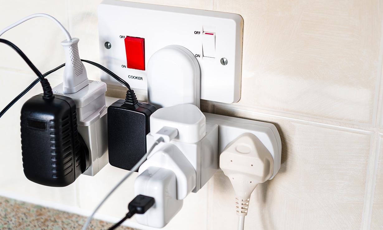 Overloaded kitchen plug socket