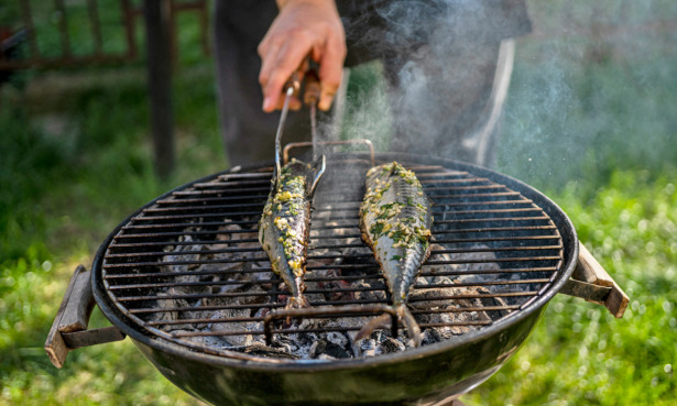 Cooking mackerel on a barbecue