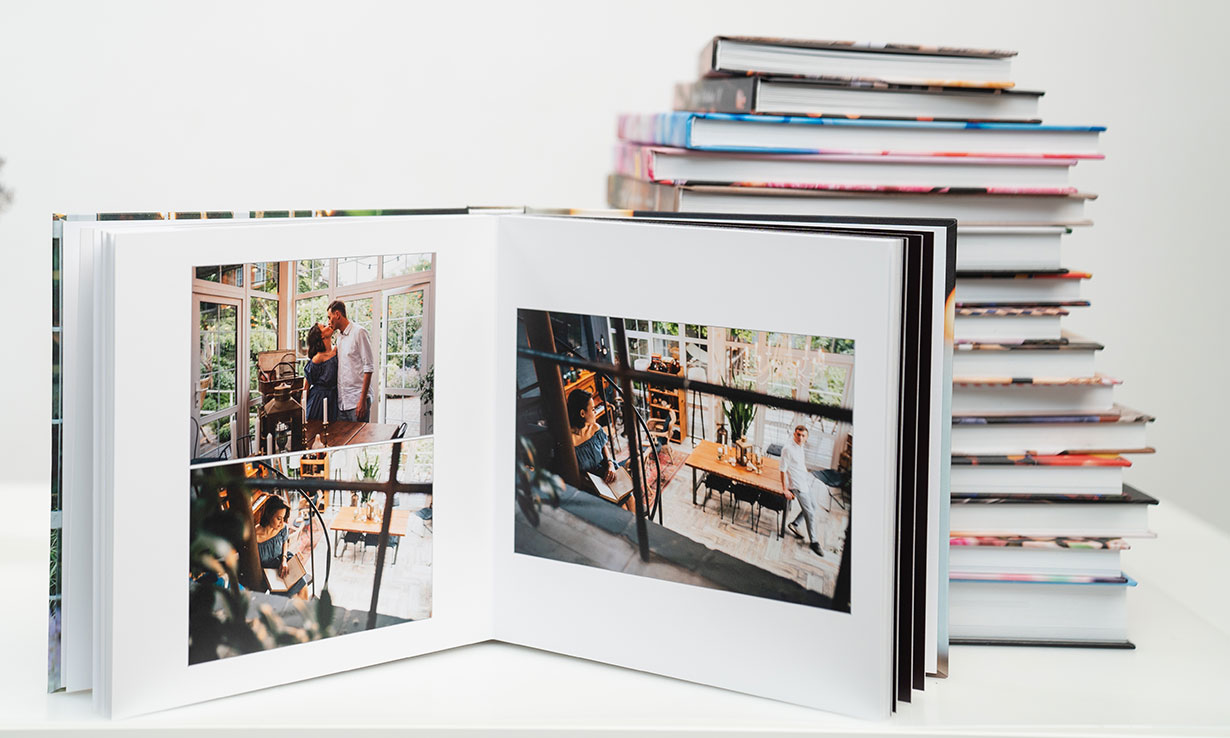 A pile of photo albums