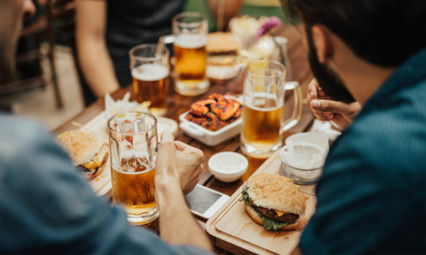 Beers and barbecue food