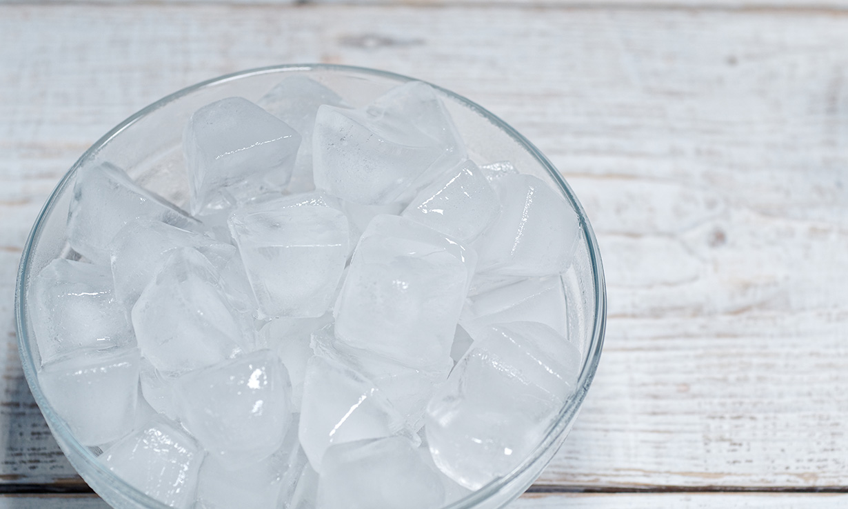 Ice cubes in a bowl