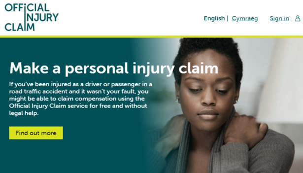 screenshot of the Official Injury Claim portal homepage