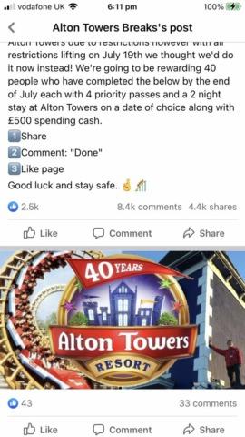 Fake Alton Towers Breaks 'giveaway'