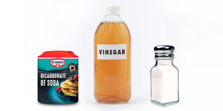 Bicarbonate soda, vinegar, salt