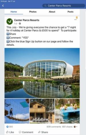 Fake Center Parcs Resorts 'giveaway'