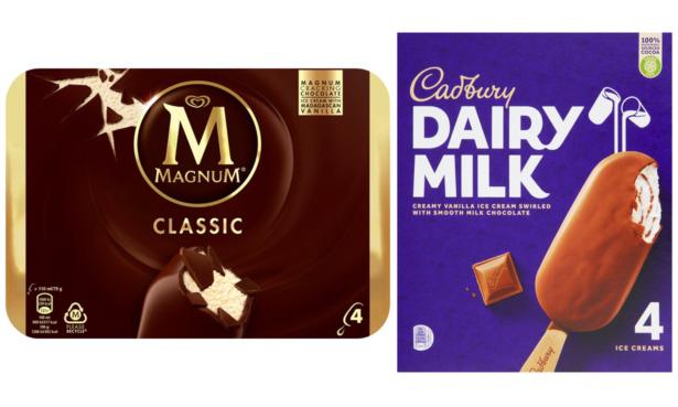 Magnum Classic and Cadbury Dairy Milk ice creams