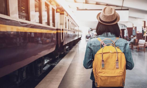 woman at train station