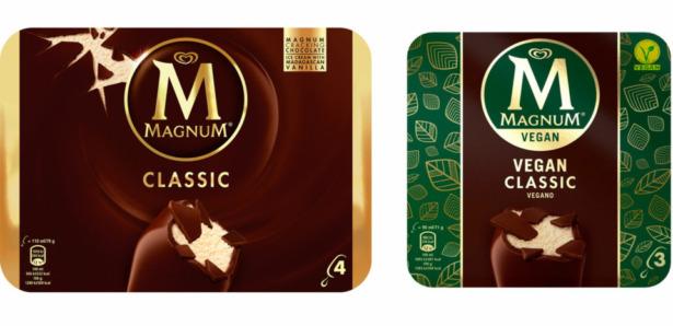 Magnum classic and Magnum vegan ice cream