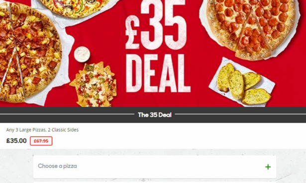 Image of the page you see when ordering 'The 35 Deal'. It's a picture of some pizzas along with five item slots that say 'Choose a pizza'.