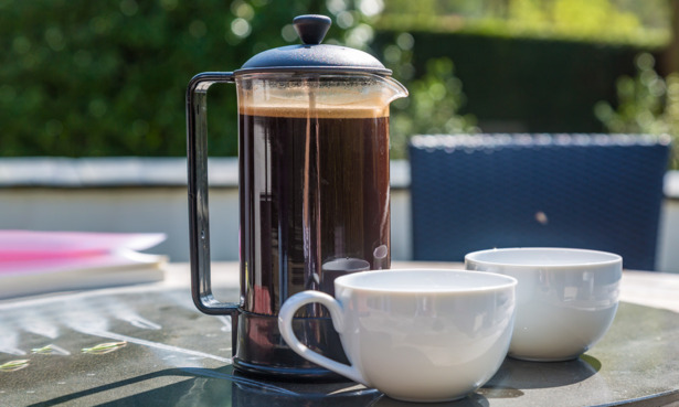 Cafetiere filled with coffee