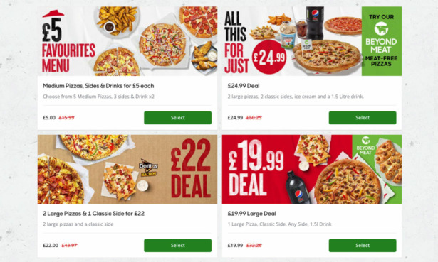 Image of the Pizza Hut 'Deals' page, listing four deals for a range of prices.