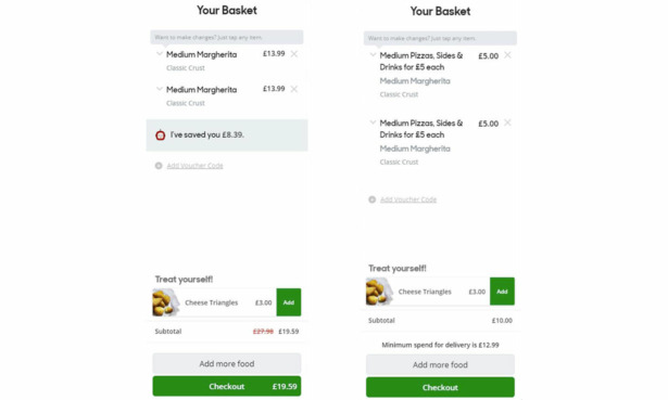 Side-by-side images of two Pizza Hut online baskets, with the prices mentioned above.