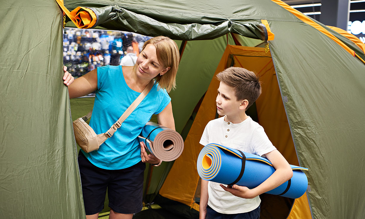 Shopping for camping equipment