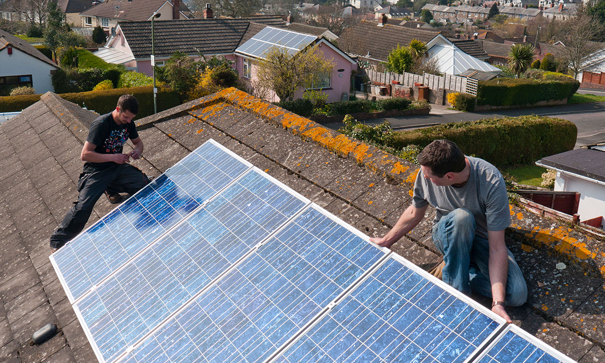 Fitting solar panels on a house roof