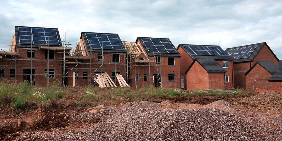 Solar panels on new build houses