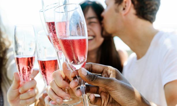 Toast with sparkling rose
