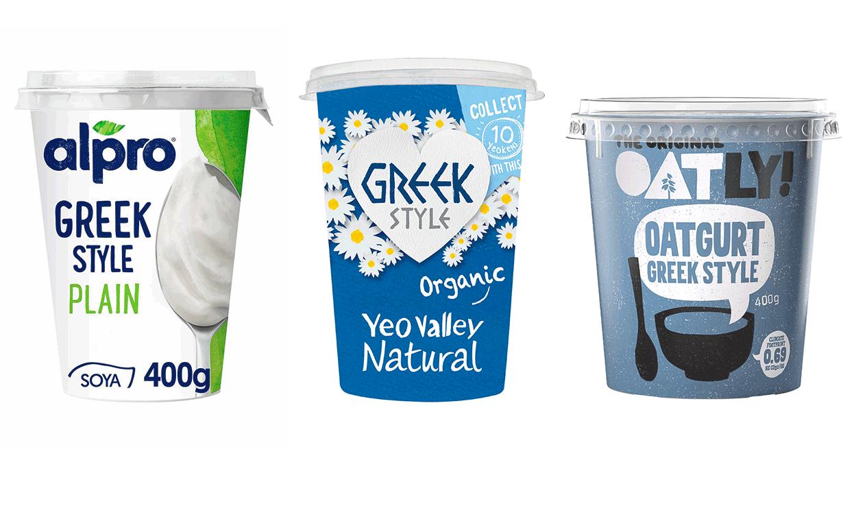 Alpro Greek Style Vegan Yoghurt vs Oatly Oatgurt Greek Style vs Yeo Valley Greek Style Yogurt