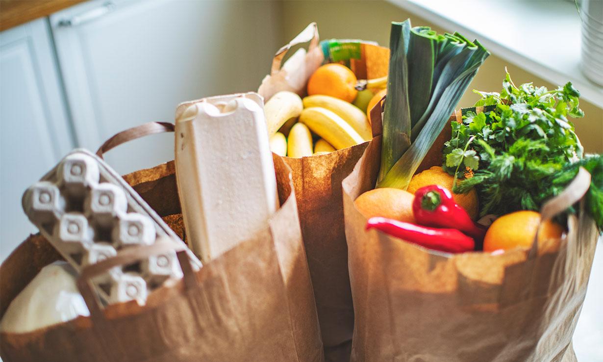 Fresh groceries in bags