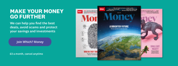 Which? Money magazine advert. Click here to sign up for £3 a month.