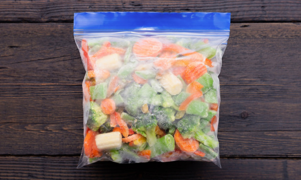reusable freezer bag with food in it