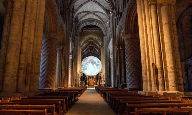Moon installation at Durham Cathedral