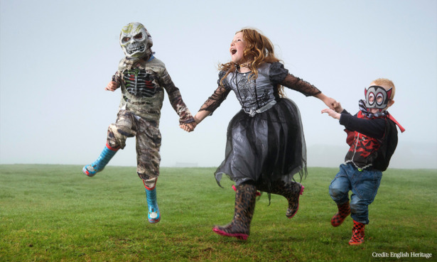 Kids in halloween costumes at Dover castle