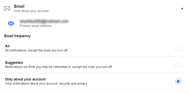 Managing Facebook email notifications