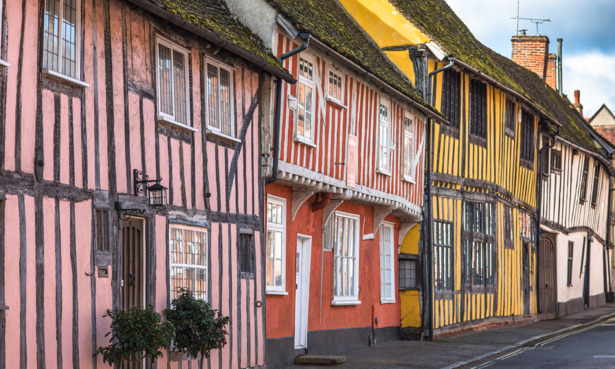 Old colourful houses in Lavenham