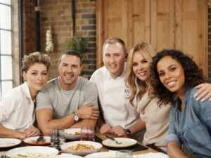 What's New at M&S campaign celebrity panel - TV presenters Amanda Holden, Paddy McGuinness, Emma Willis and Rochelle Humes.