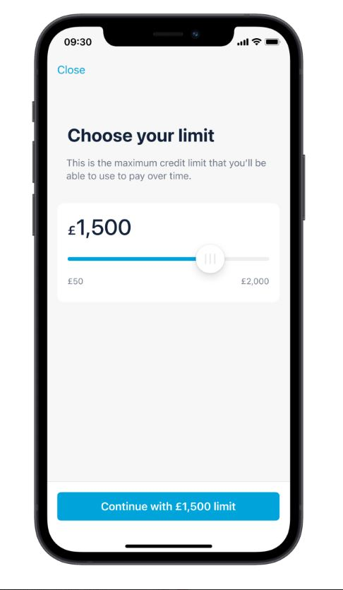 Monzo Flash app showing users will be able to set their credit limit.