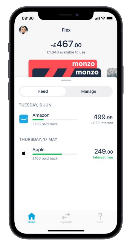 Monzo Flex app showing purchase payment plans for Apple and Amazon.