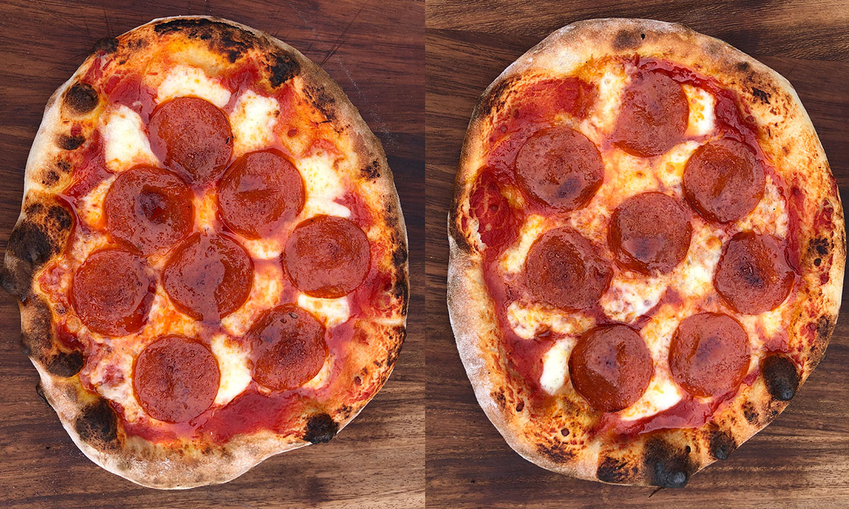 Pepperoni pizzas made with different bread flours