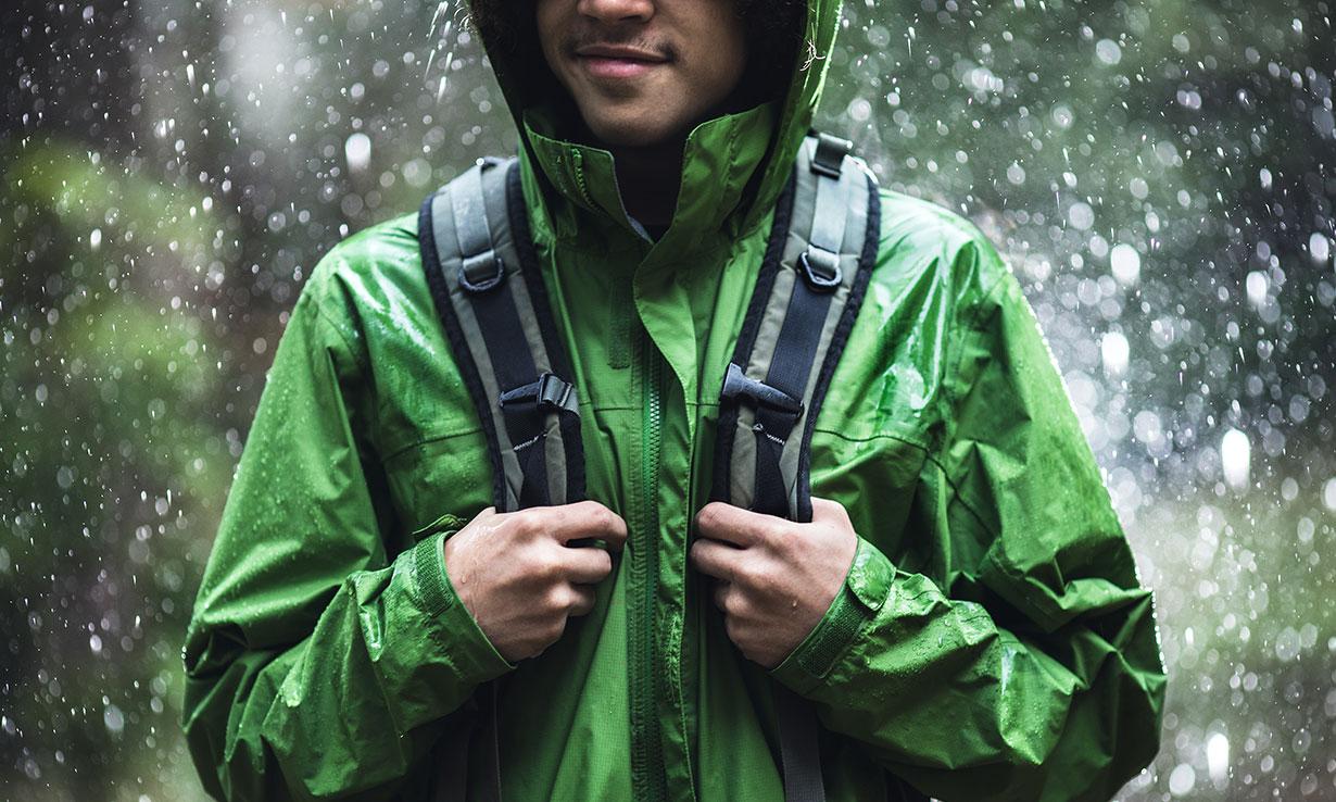 Rain falling on a waterproof jacket