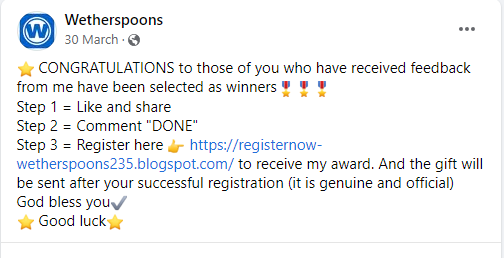fake wetherspoons post
