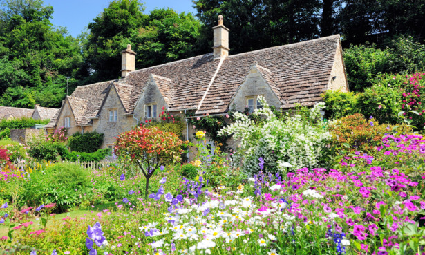 Cottage with a floral garden