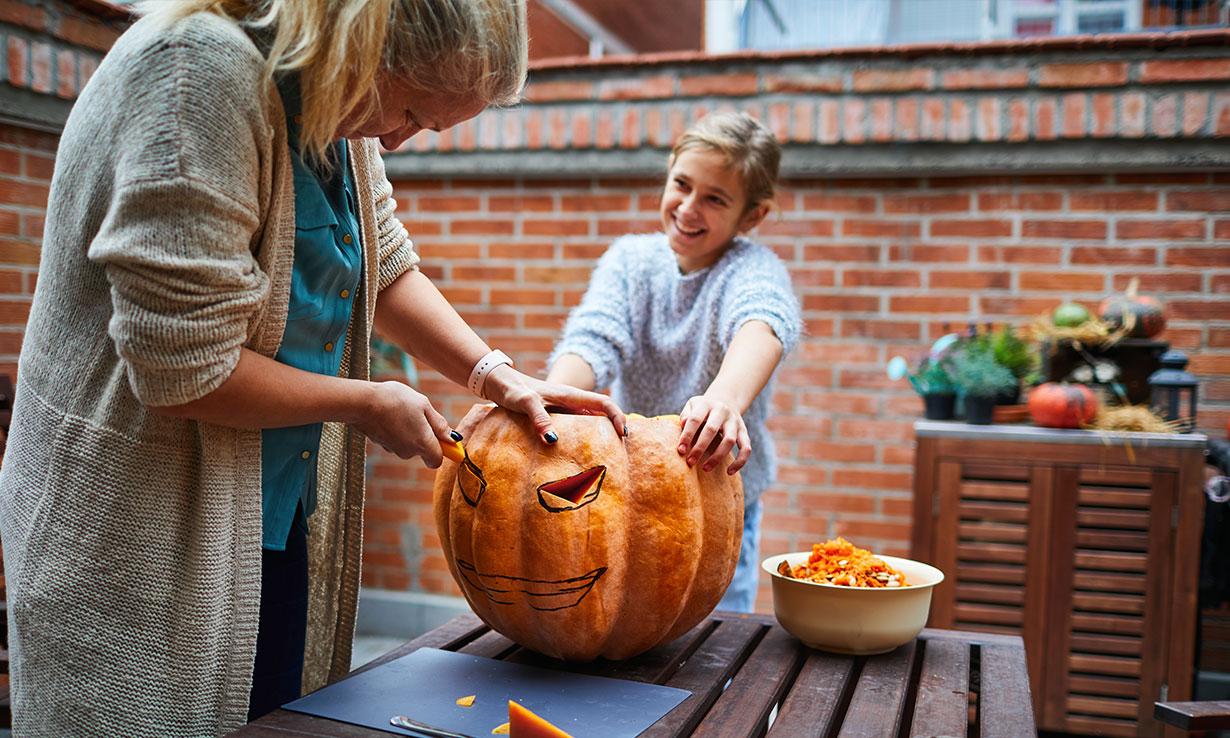 Gutting the pumpkin