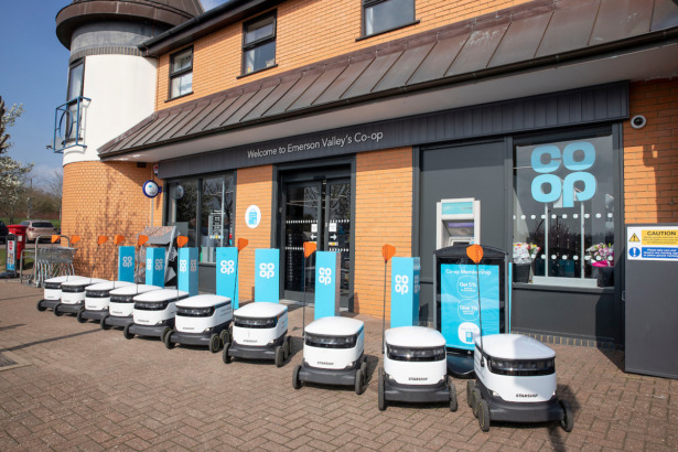 Coop robots outside a store