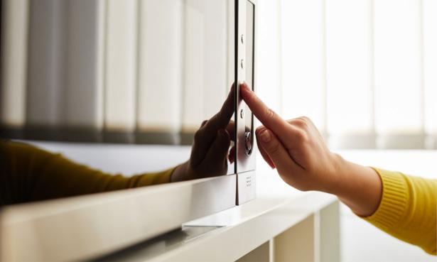 Microwave door close up