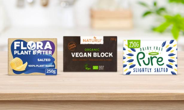 Flora, Naturli and Pure vegan butter blocks