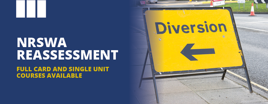 NRSWA reassessment courses. Diversion sign and blog banner.