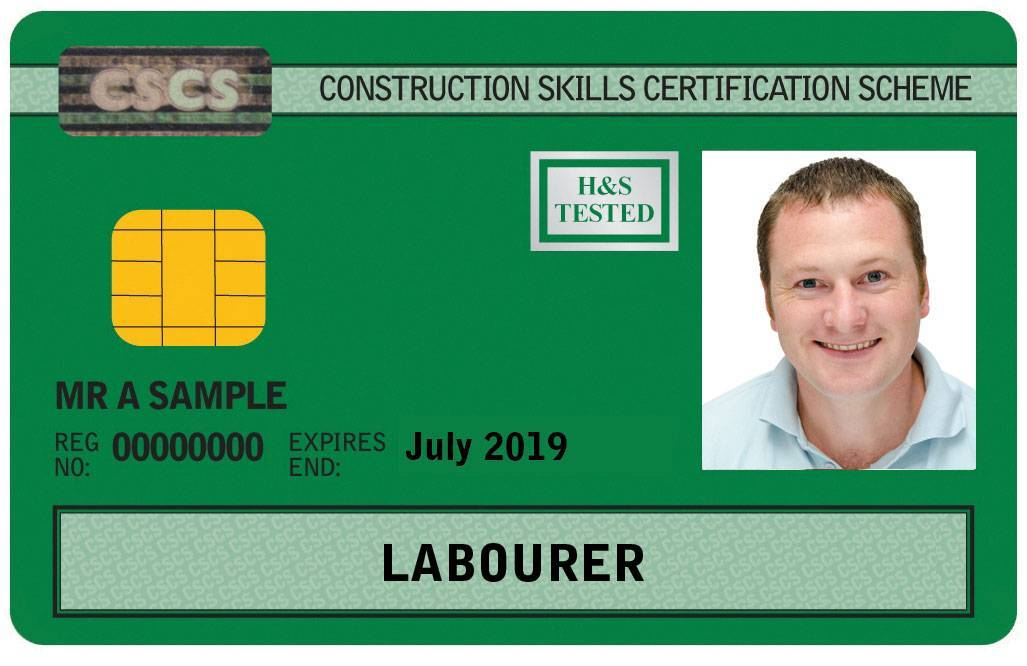 Sample CSCS labourers card. 1 day CITB health and safety awareness course Essex.