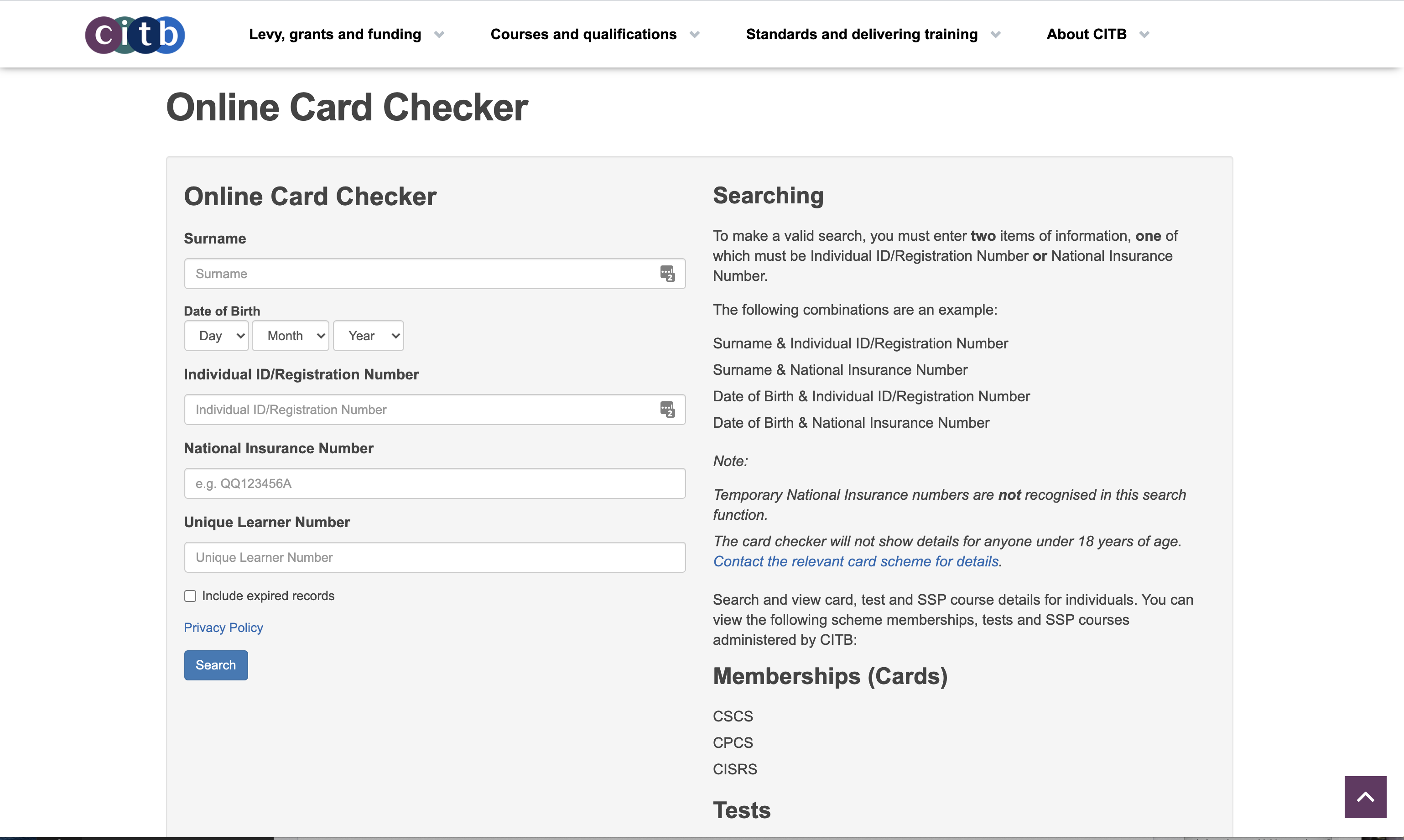 Screenshot of citb card checker to get your cscs card